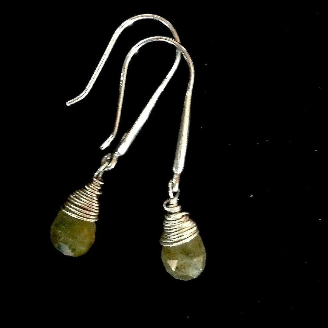 Green Garnet Gemstone earrings on Sterling hooks