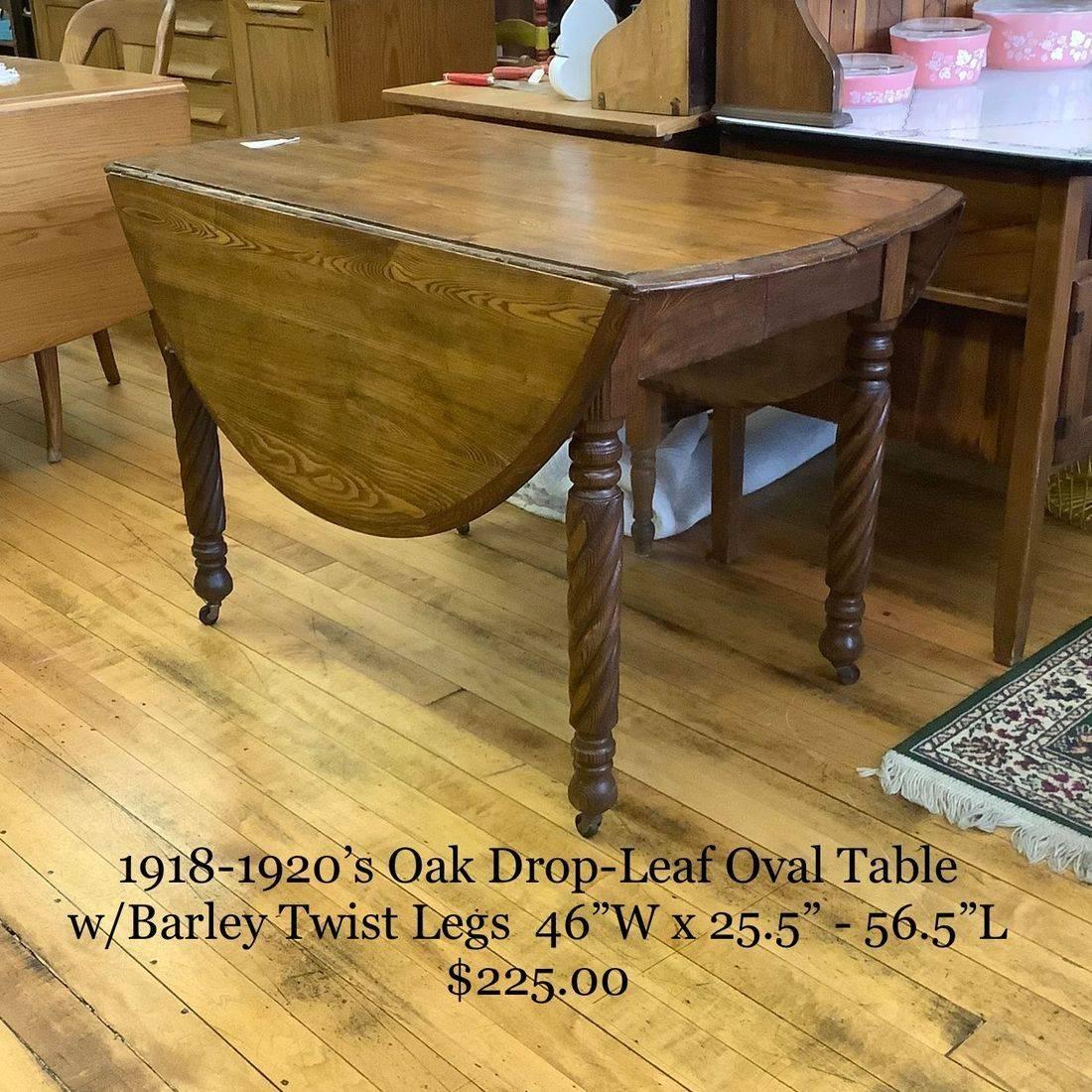 1918-1920's Oak Drop-Leaf Oval Table w/Barley Twist Legs   $225.00