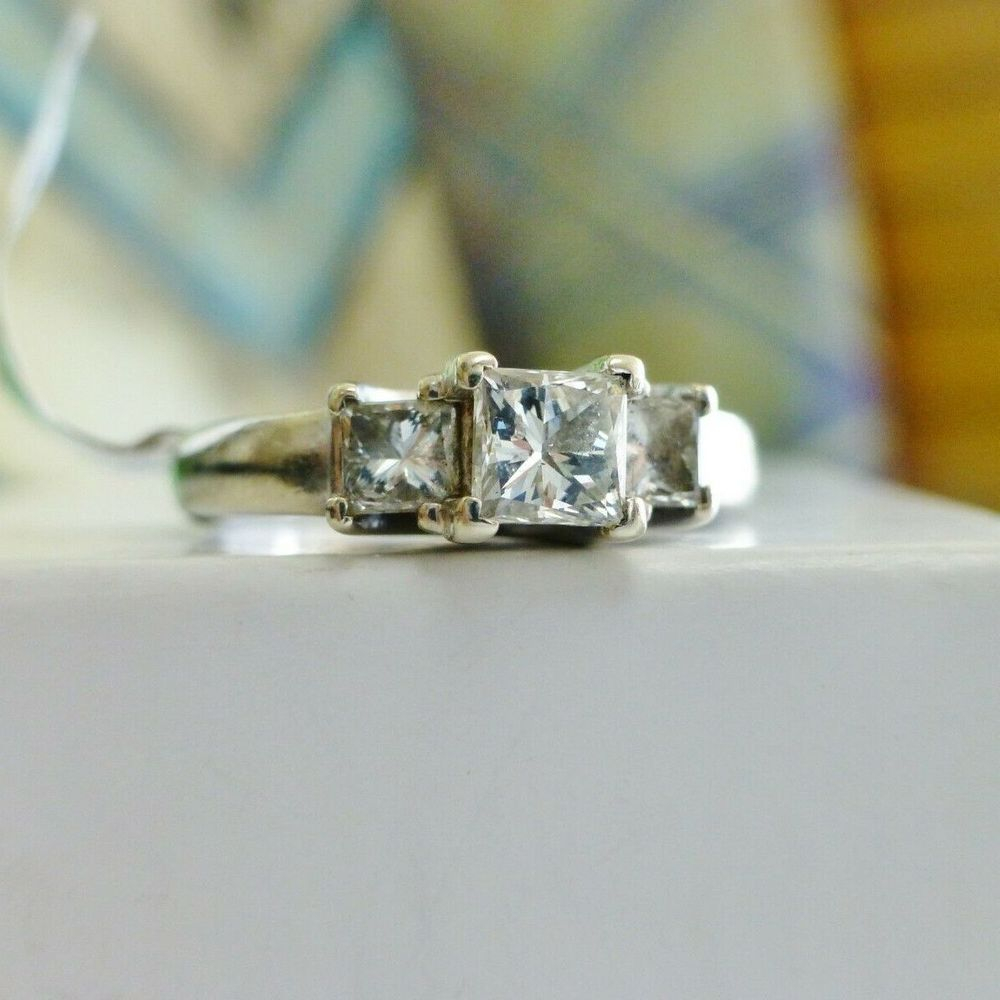 Princess Cut Diamond three Stone Engagement Ring in white gold