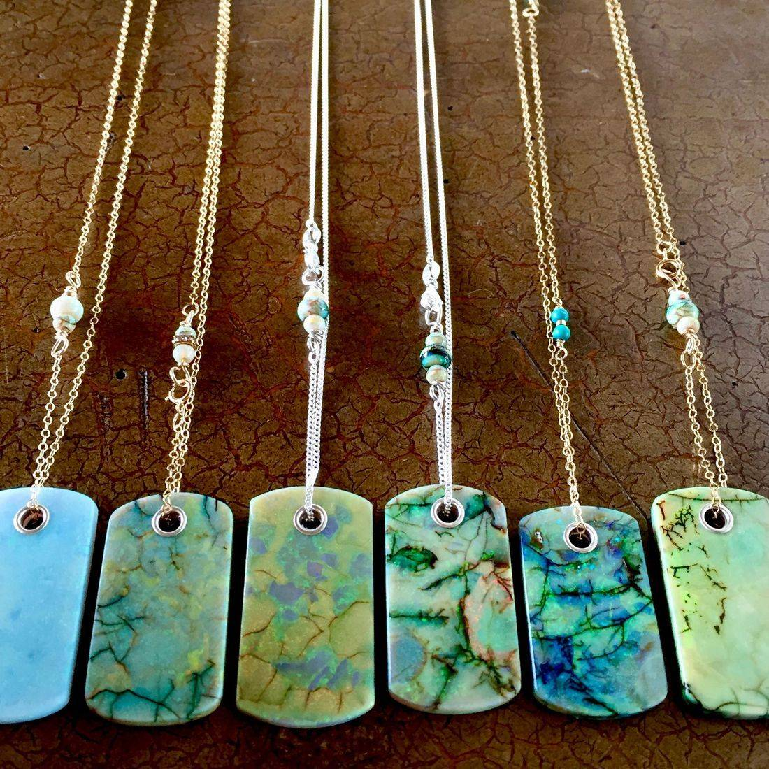 """14k gold filled necklaces with pearls and gemstones, Cultured Opal Dog tags 1.5"""" x .75"""" on 17"""" 14k gold filled chain $95.00 USD"""