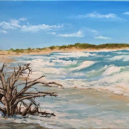 "SBaeckmann- Surf on Cedar Island NC -  Oil - 36"" x 12"" - $750"