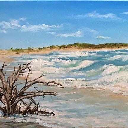 "SBaeckmann- Surf on Cedar Island NC -  Oil - 36"" x 12"" - $750"