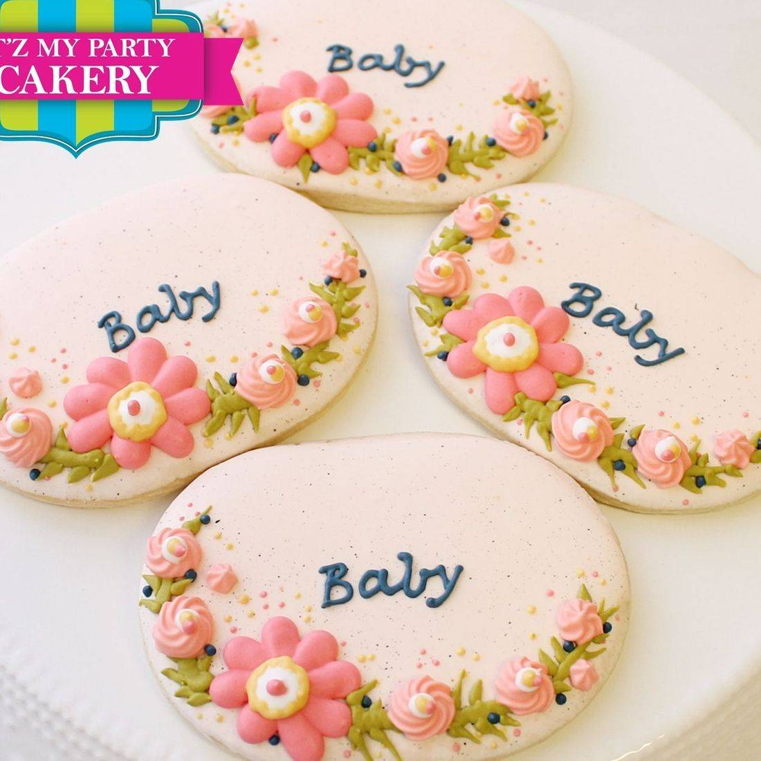 Floral Baby Oval  Cookies Milwaukee