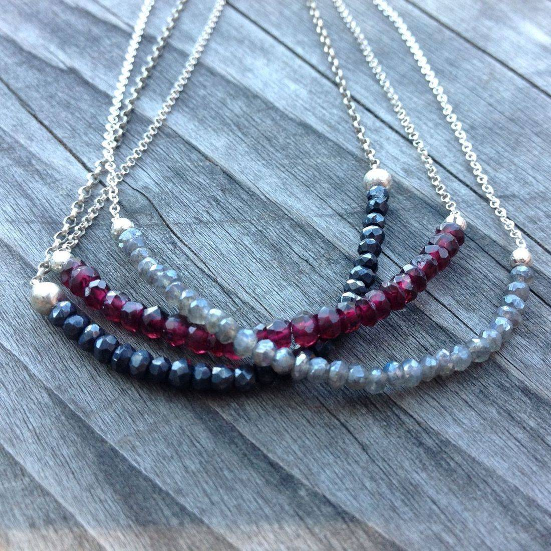 tiny spinel, garnet and labradorite, faceted  gemstone beads on silver chain, gemstone necklace