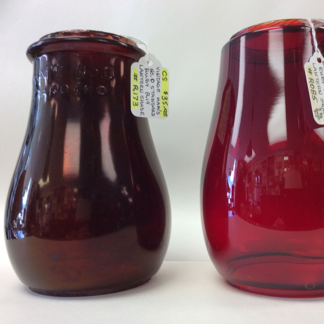 Vintage Hams No. 0 Ruby  R14 Lantern Globe