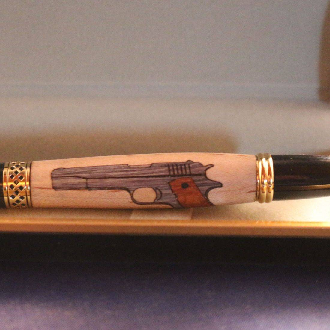 Pistol Inlay Mesa Pen