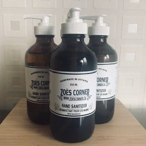 Zoe's Corner, Locally made Hand Sanitizer, Zoes corner hand sanitizer, exhalo Barrhaven