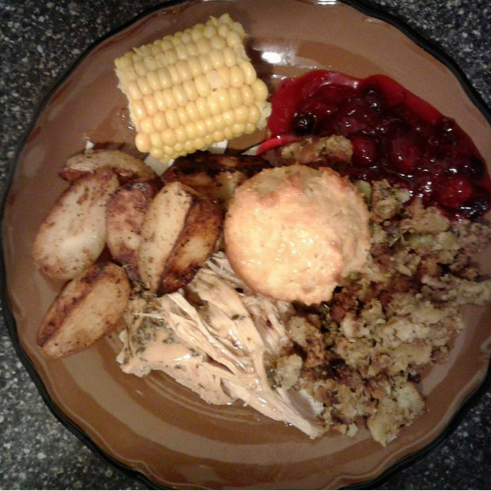 Lemon-thyme turkey breast, sage dressing,  cranberry sauce, rosemary potatoes, cheddar cornbread