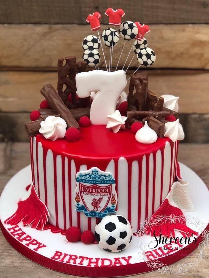 football liverpool red drip cake birthday