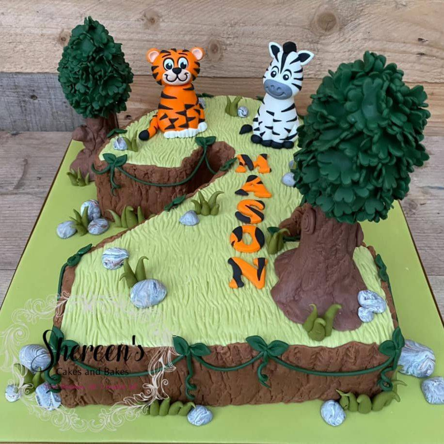 Jungle Birthday Cake Tiger Zebra Number 2