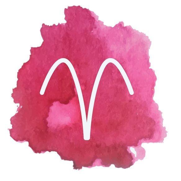 Image: watercolor Aries symbol