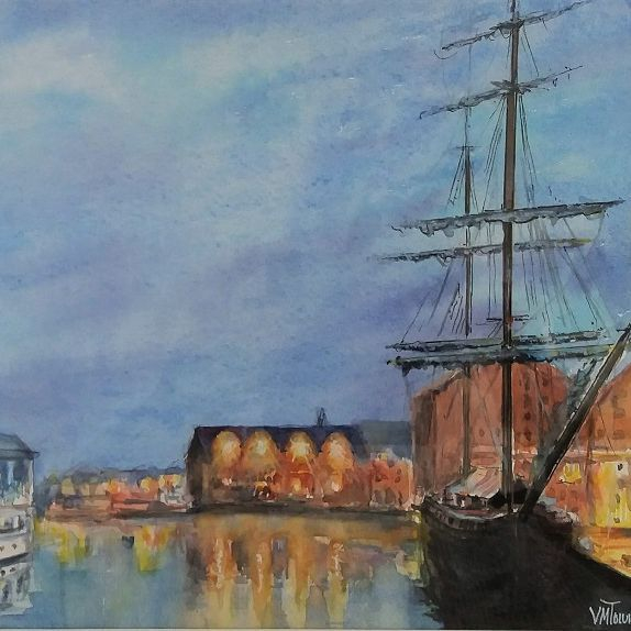 Gloucester Docks Early Evening Watercolour Tall Ship