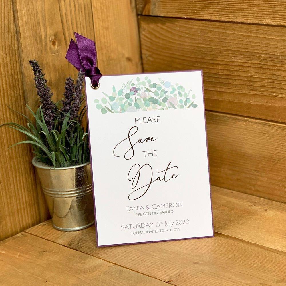 Save the Date  Eucalyptus, lilac, purple