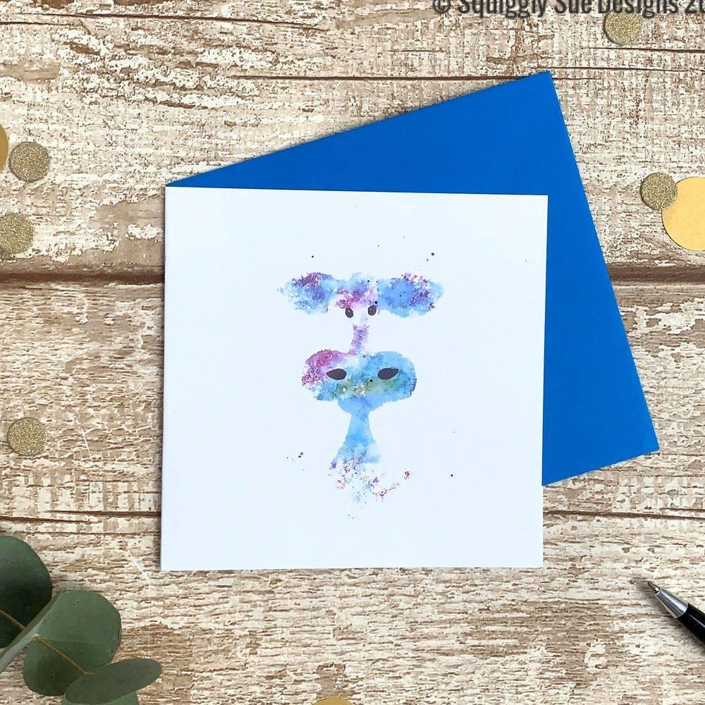 Watercolour art card quirky cow