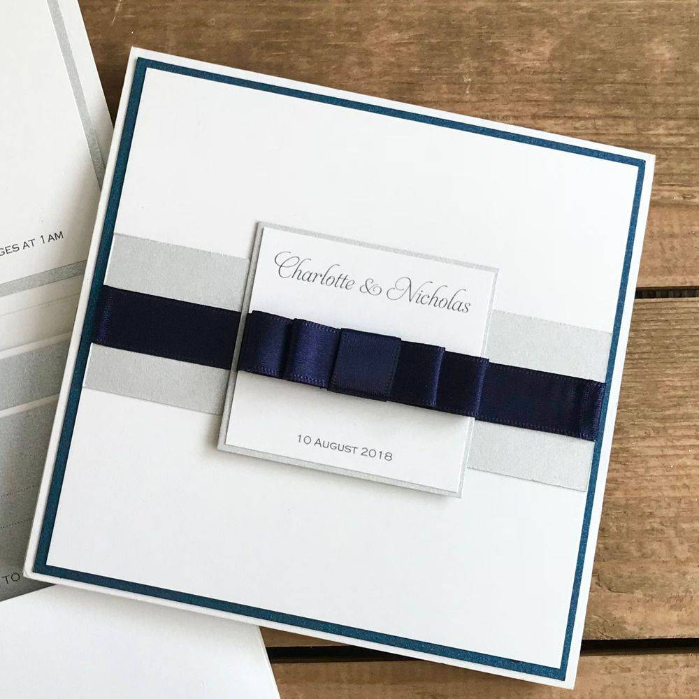 PWedding invite with dior bow - Navy and White