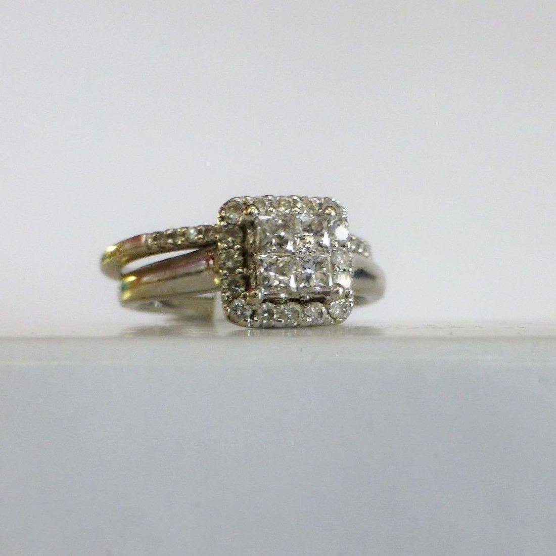 White Gold Wedding Set With A Diamond Halo Princess Cut Quad Center Engagement Ring and A Round Prong Set Diamond Wedding Band
