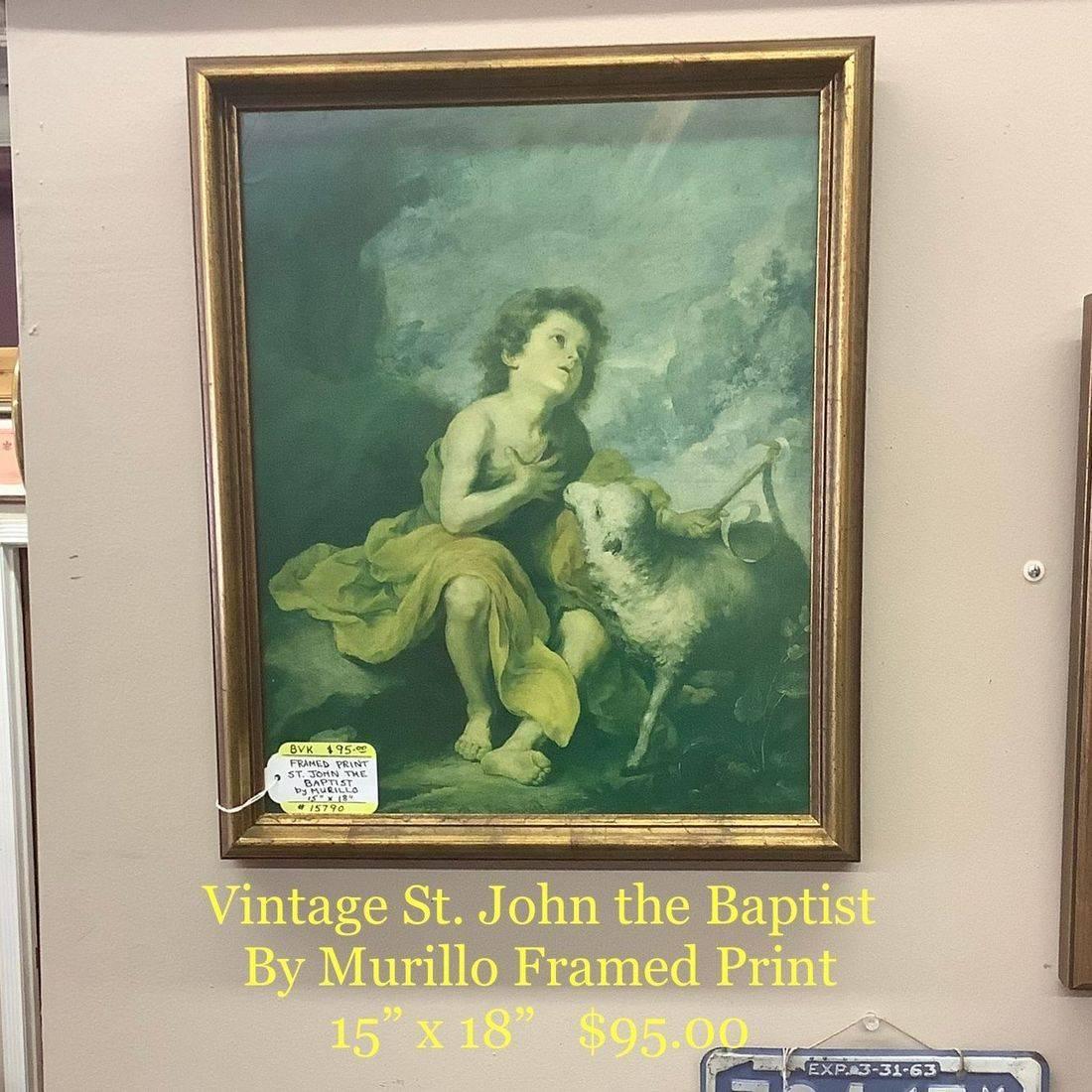 "Vintage St. John the Baptist by Murillo Framed Print  15"" x 18""   $95.00"