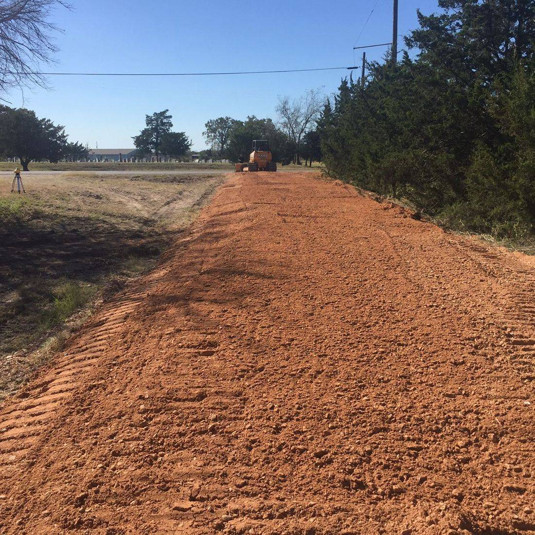 access road, easement road, dozer work, installation of material, install gravel, install roads