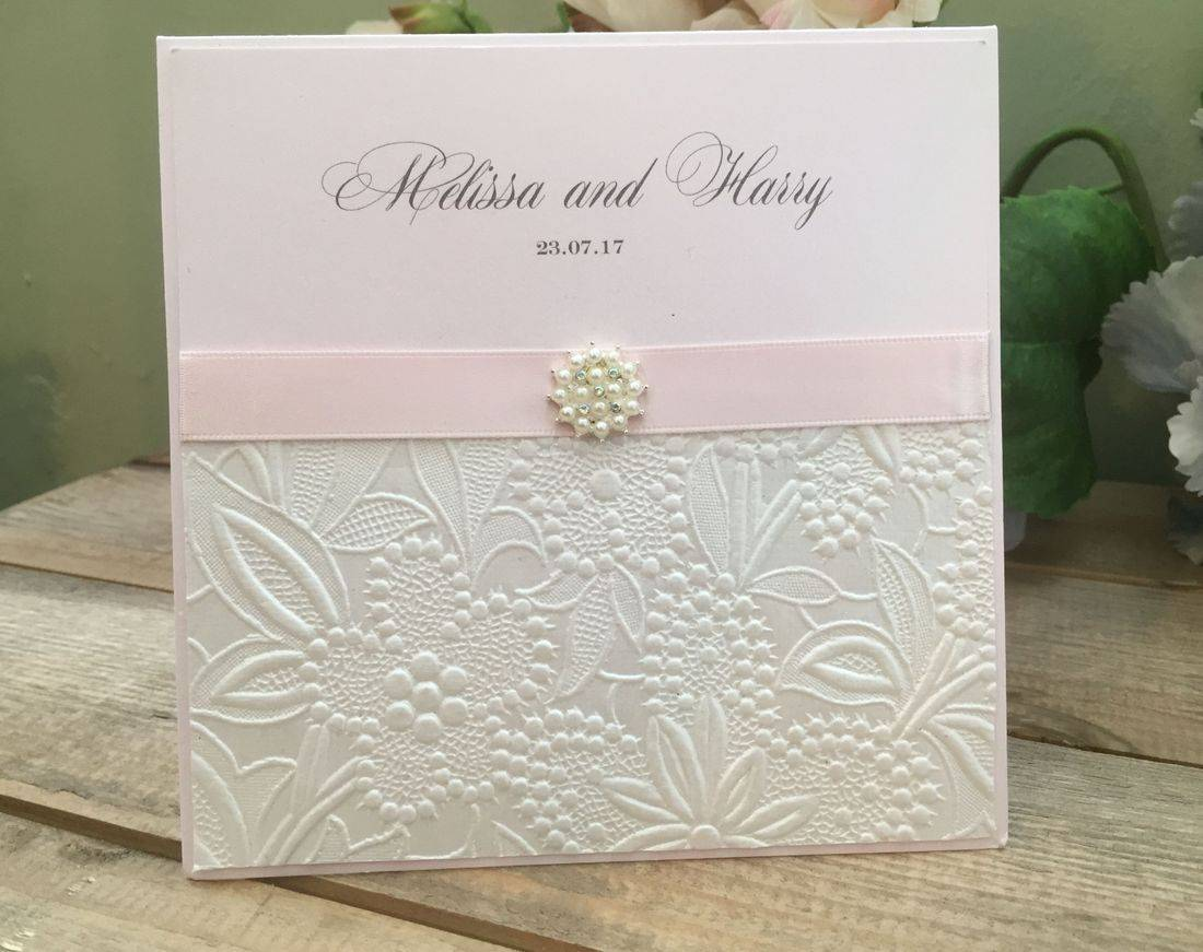 Luxury Wedding Invitation with embossing and pearl