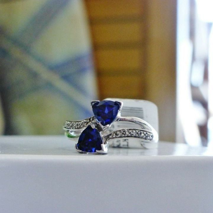 10K White Gold Ring with Two Triangular Blue Sapphires and White Diamond Accents