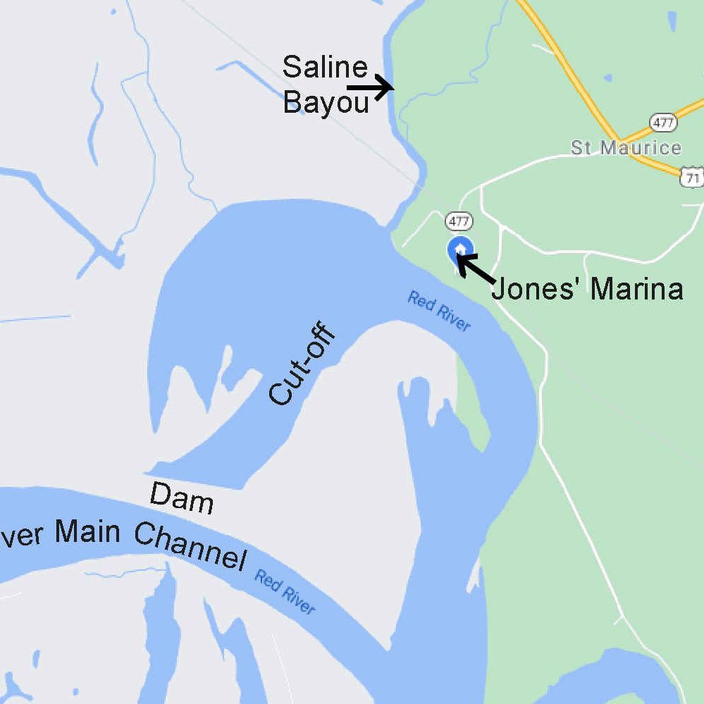 Natchitoches, map, red river, bayou, St. Maurice, channel, google maps