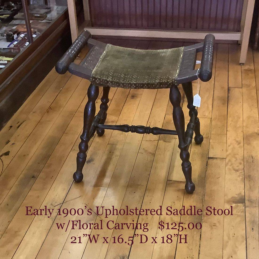 Early 1900's Upholstered Saddle Stool w/Floral Carving   $125.00