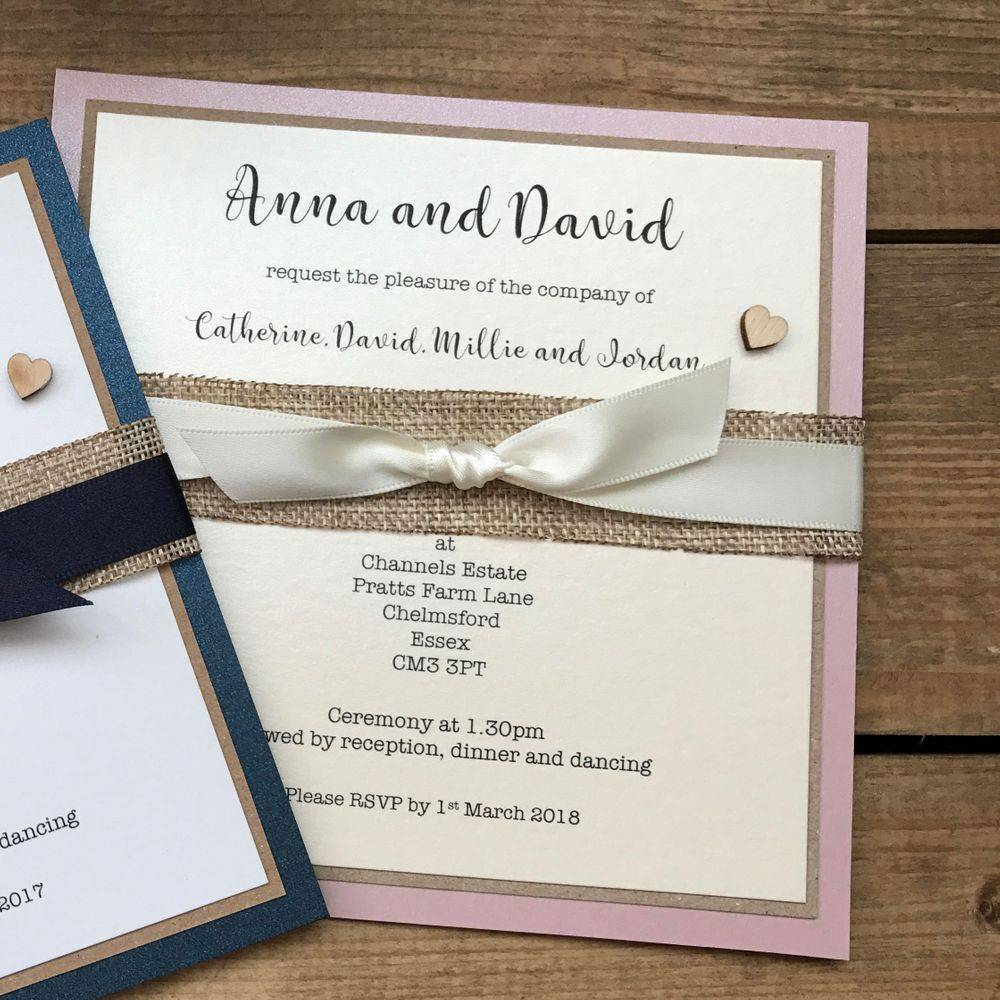Rustic Invite, dusky pink, ivory and burlap