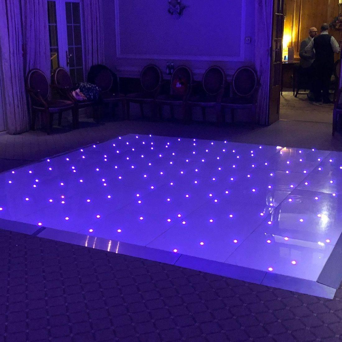 DJ Ollie Clarke Wedding DJ White Led Starlit Dance floor Birmingham