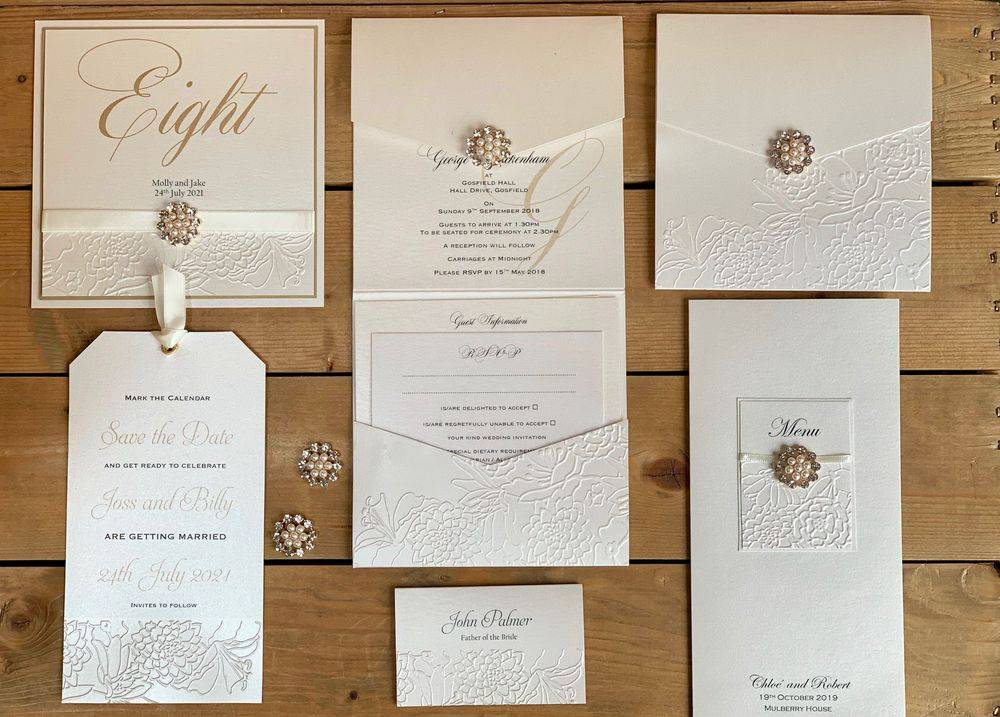 Ivory Embossed Wedding Invitation with Pearls and Diamantes