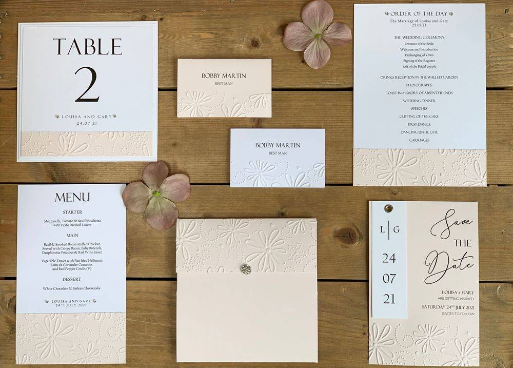 Blush Pink and White Wedding Stationery
