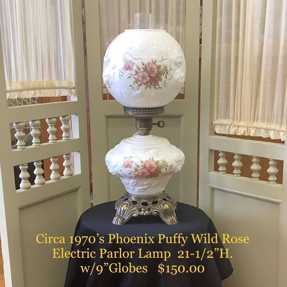 C. 1970's Phoenix Puffy Wild Rose Electric Parlor Lamp $150.00