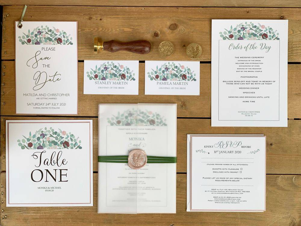 Wedding Invitations with Pink Wax Seal  Invitations
