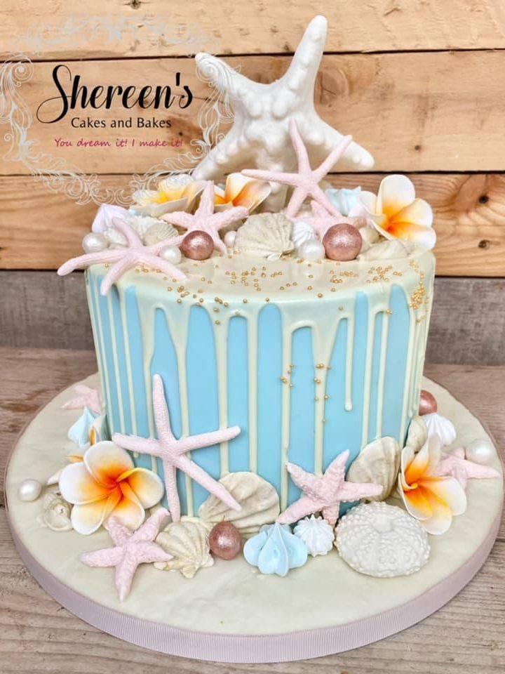 Beach & Tropical themed drip cake