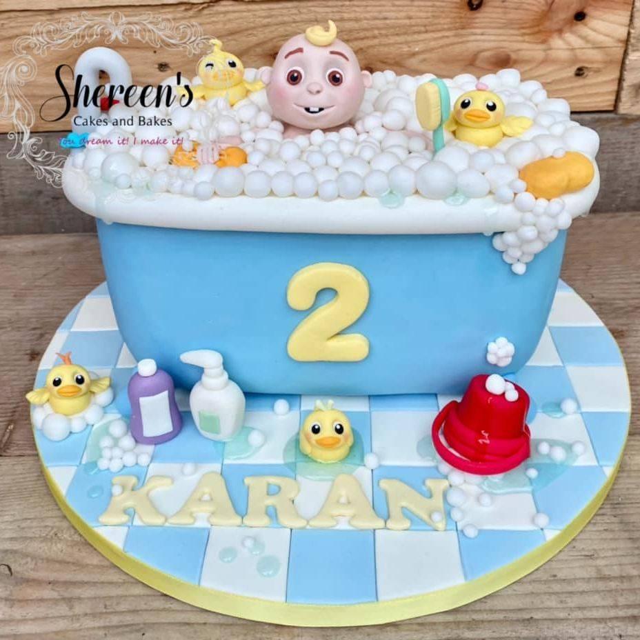 Cocomelon Birthday Cake Bath time song ducks bubbles bucket