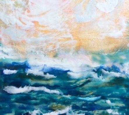 Seascape painting, encaustic seascape, ocean painting, Landscape painting, encaustic landscape, ethereal landscape, ethereal seascape, encaustic artist, inspirational art, abstract landscape painting, encaustic artist