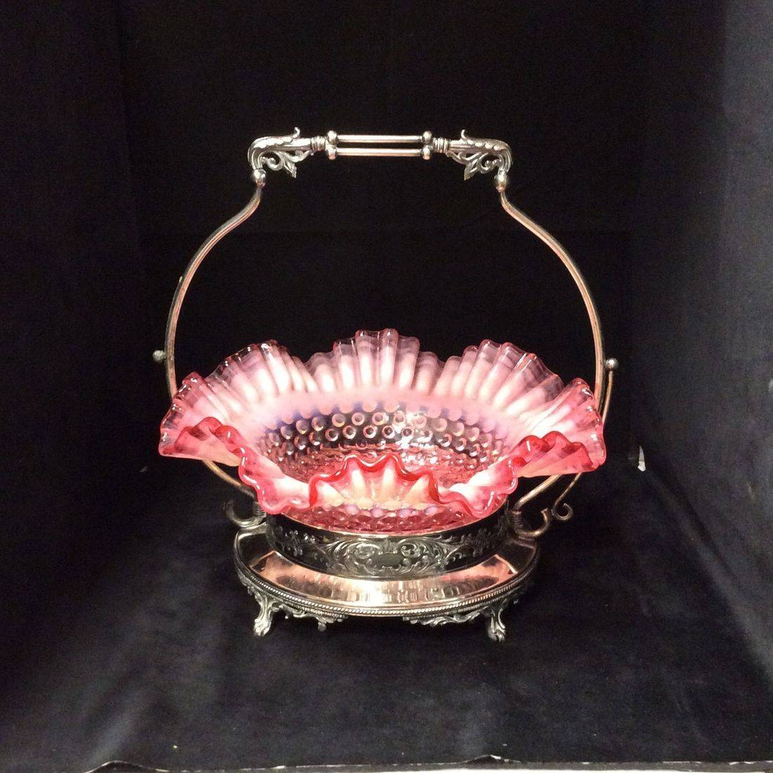 Very Early 1900's Southington Silver Plated Bridal Basket w/Early Fenton Hobnail Double Crimp Opalescent Cranberry Bowl   $95.00