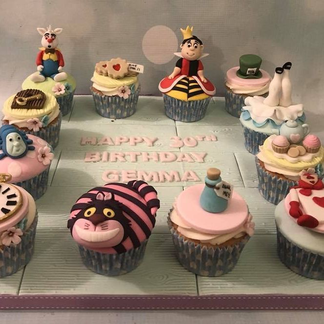 Alice Wonderland Birthday Celebration Cupcakes Queen Hearts Rabbit Cheshire Cat Tea Party