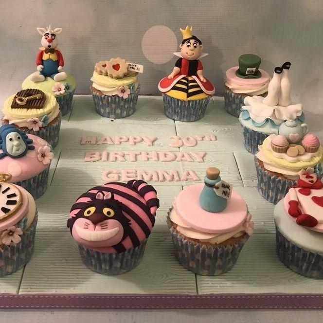 Alice Wonderland Birthday Celebration Cupcakes Queen Hearts Rabbit Cheshire Cat Tea Party