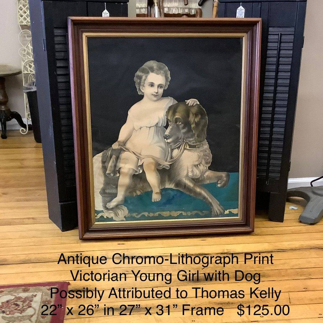 Antique Chromo-Lithograph Print 'Victorian Young Girl with Dog'  Possibly Attributed to Thomas Kelly   $125.00