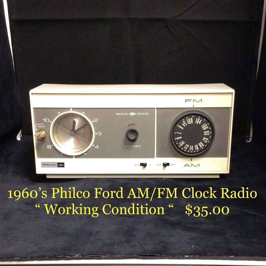 "1960's Philco Ford AM/FM Clock Radio  ""Working Condition""   $35.00"