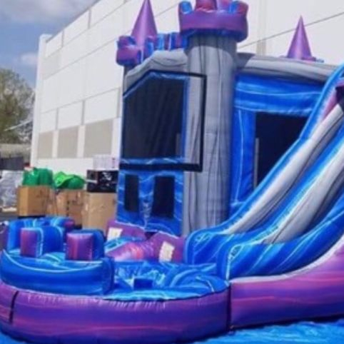 marble castle bounce house waterslide combo