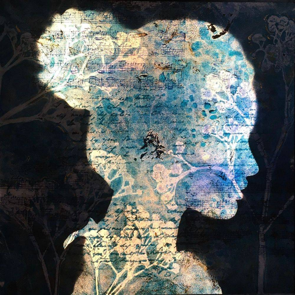 Erato, muse, tableau lumineux, applique, silhouette, profile, lampe, light painting.