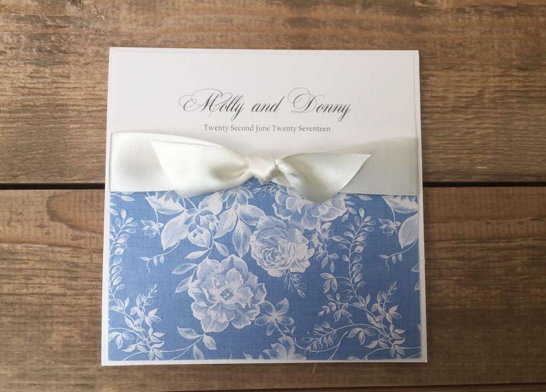 Vintage Wedding Invitation - Ivory and Blue