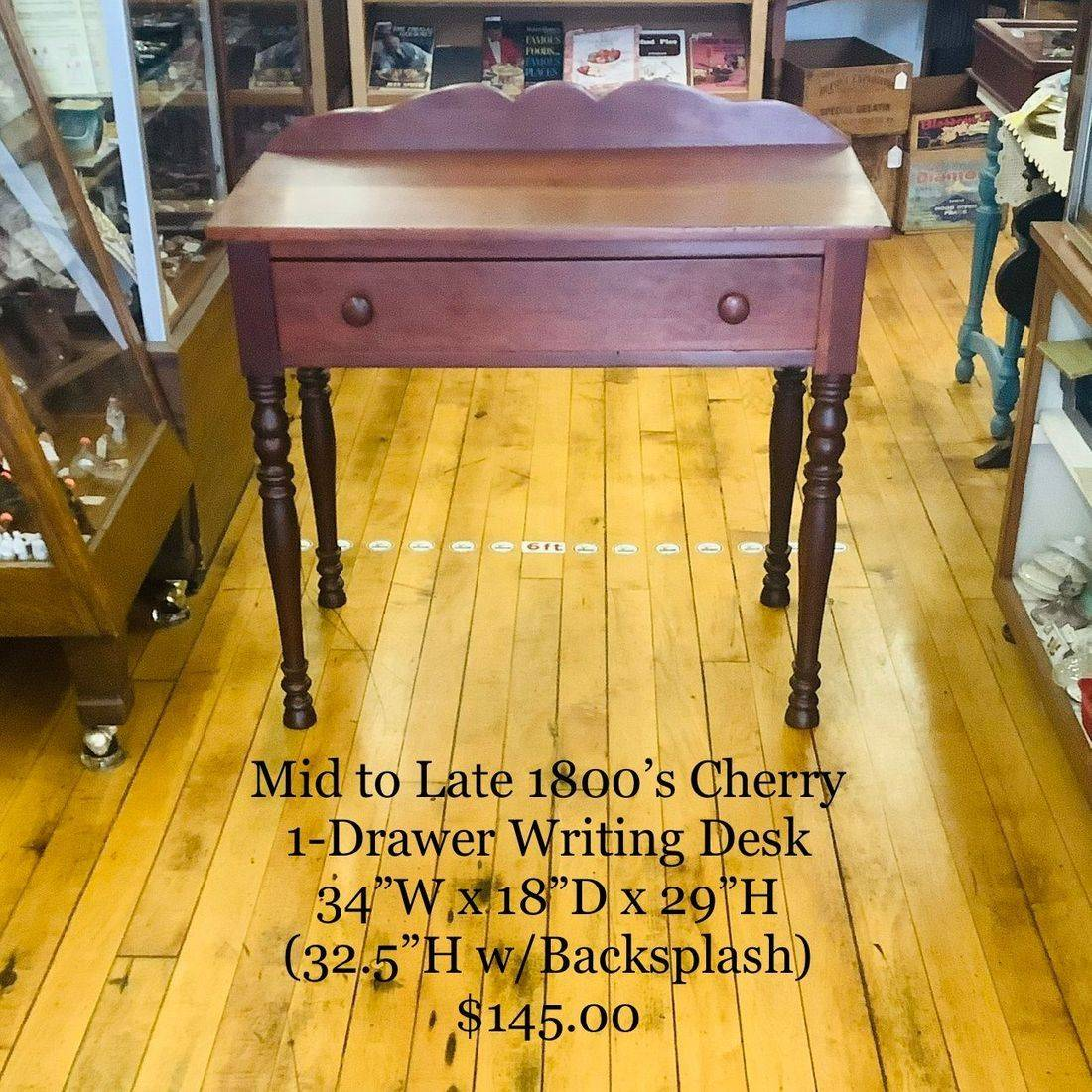 Mid to Late 1800's Cherry 1-Drawer Writing Desk   $145.00