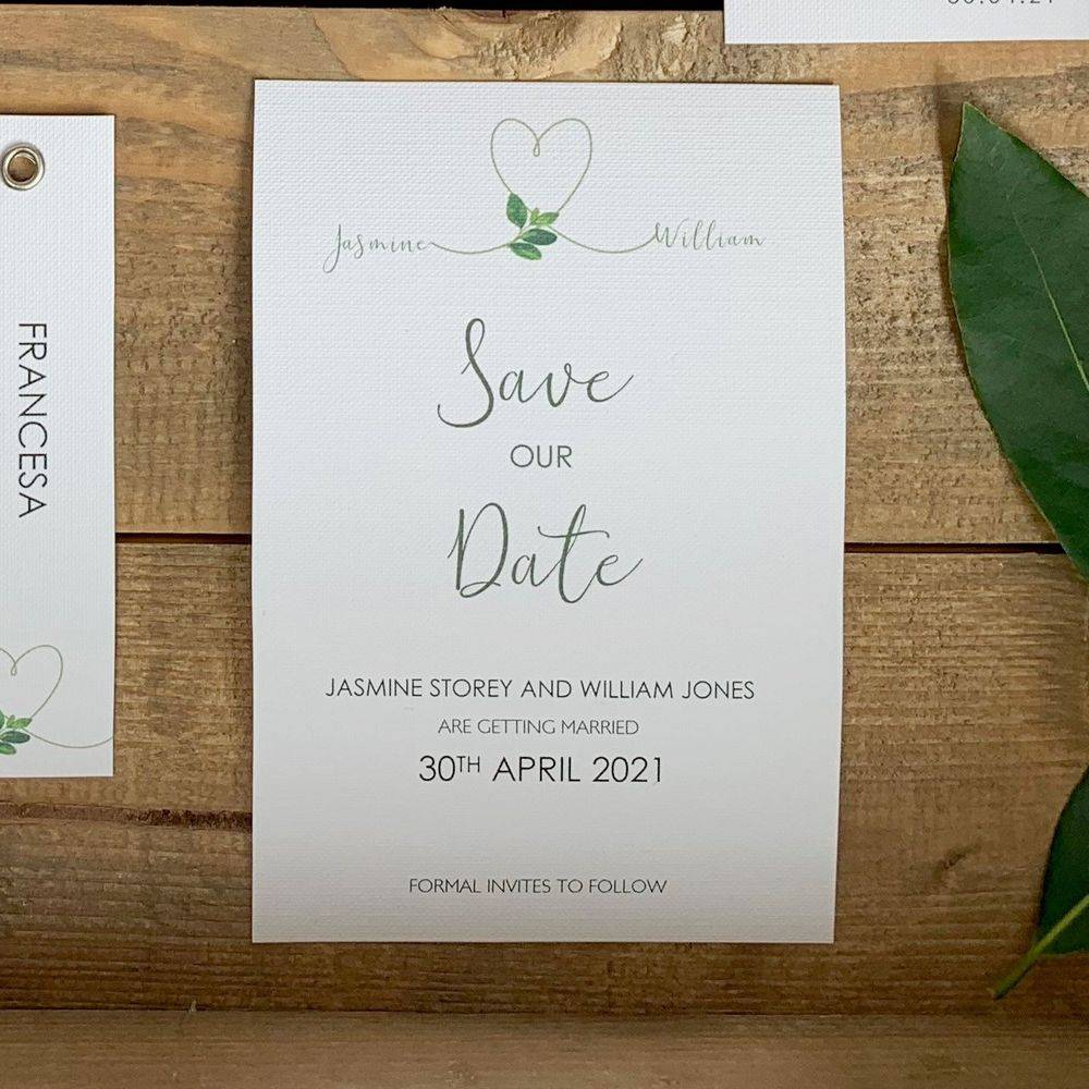 White save the date card with personalisation