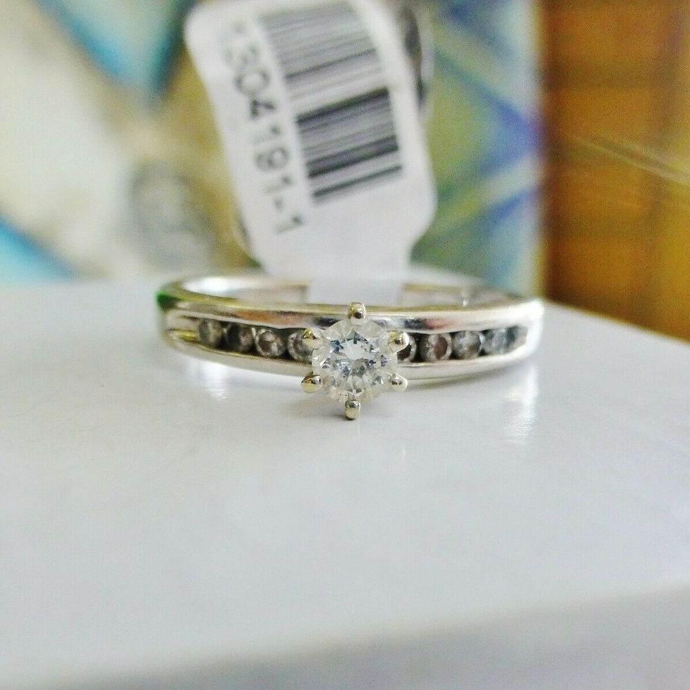 Round Diamond Solitaire With Accents Engagement Ring  in White Gold