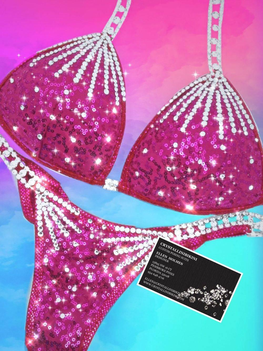 fuchsia sequin competition bikini