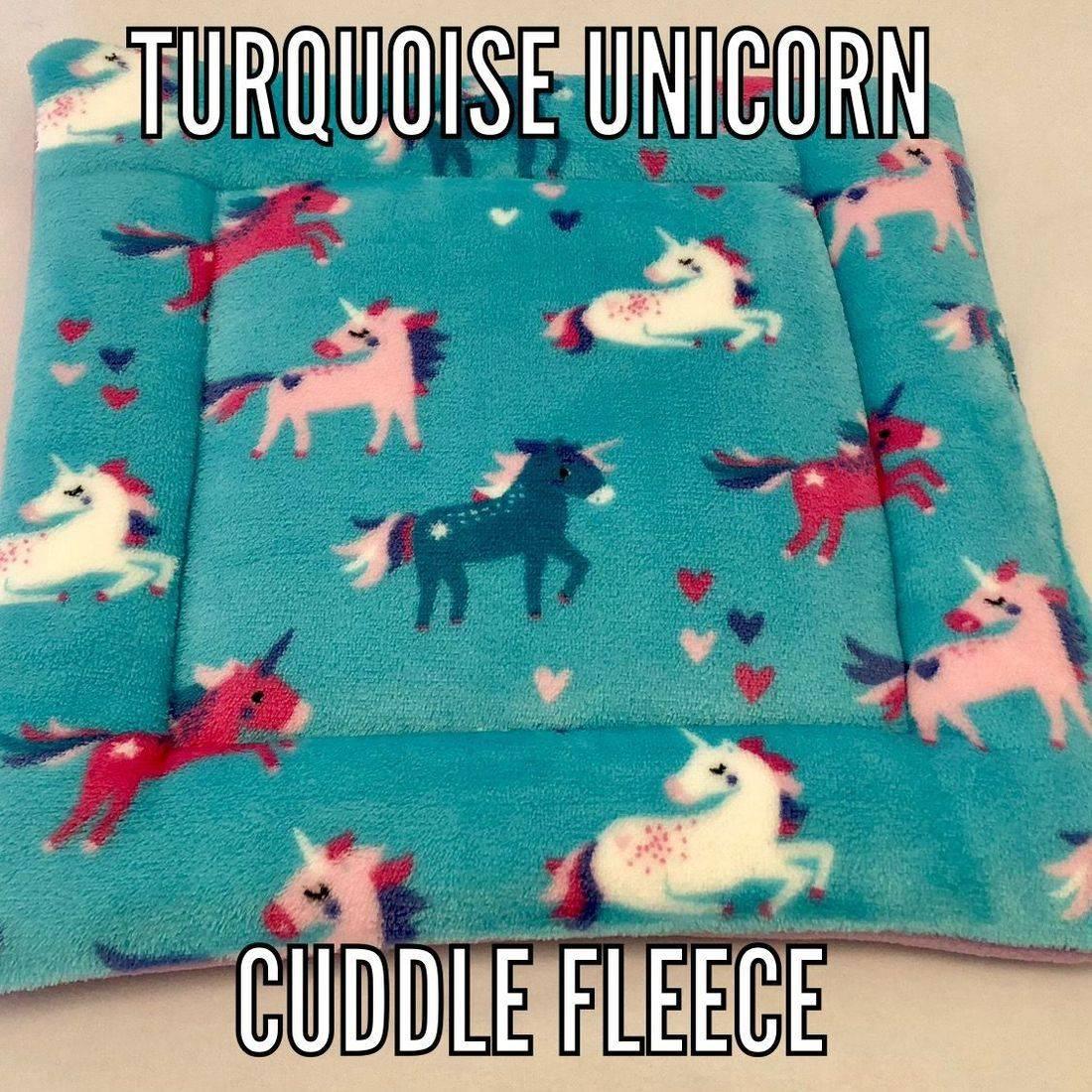 turquoise unicorn fabric