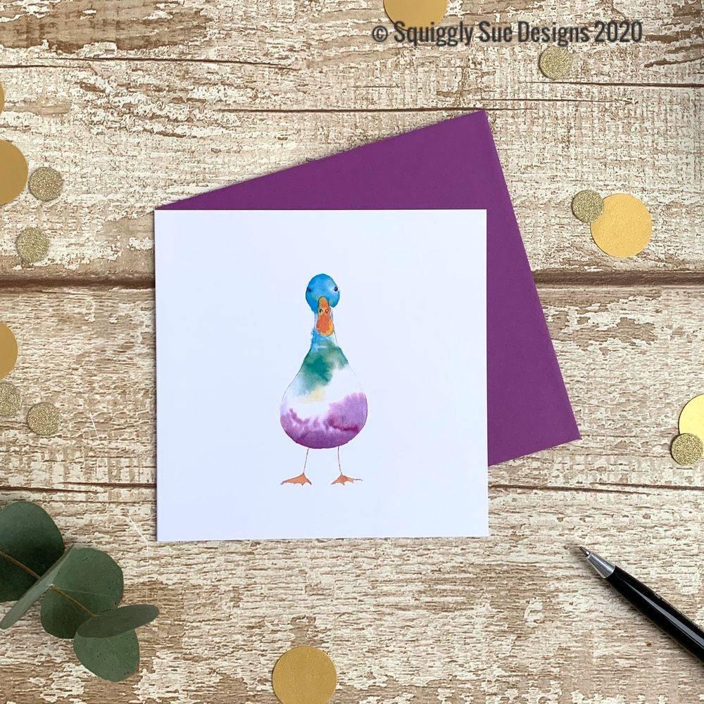 Duck card from an original watercolour