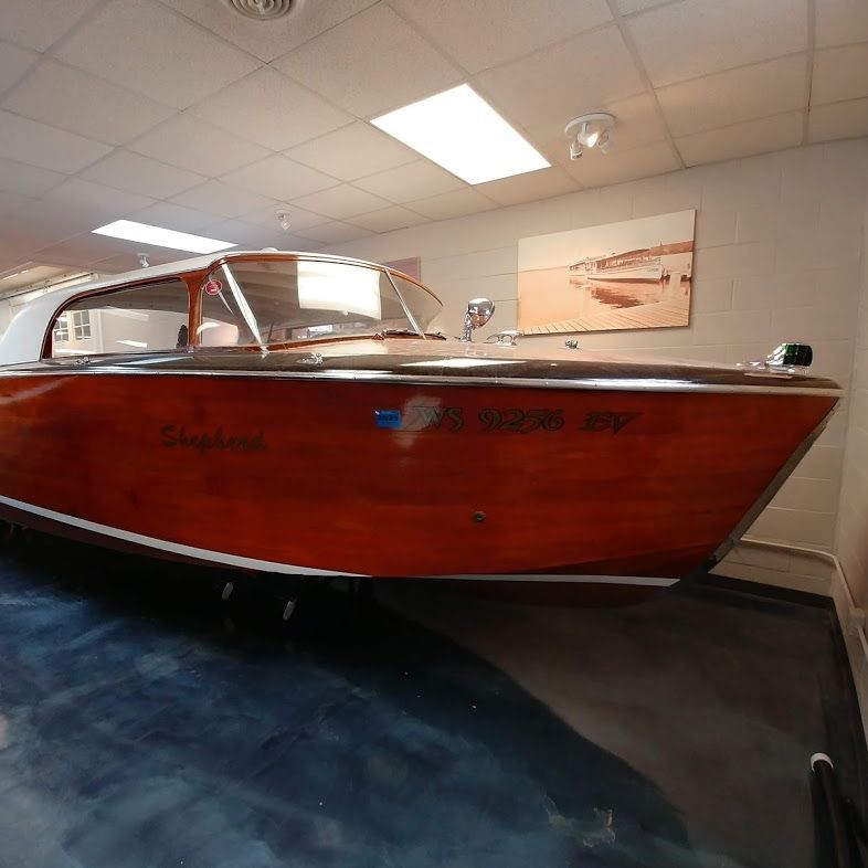 24 Shepherd Hardtop at lake geneva wood boat showroom